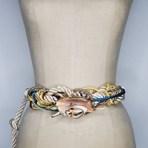 Handmade knot tie corded belt with real Sea Shell